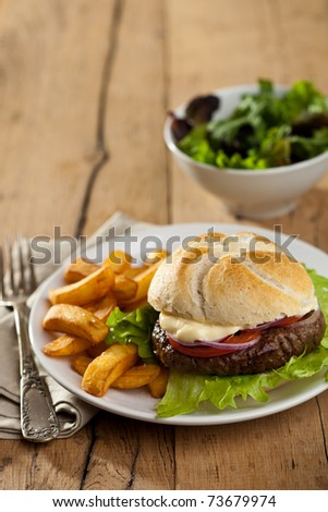 Hamburger with mayonaise, onionrings, salad and fries