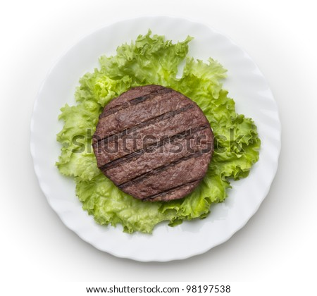Hamburger with salad