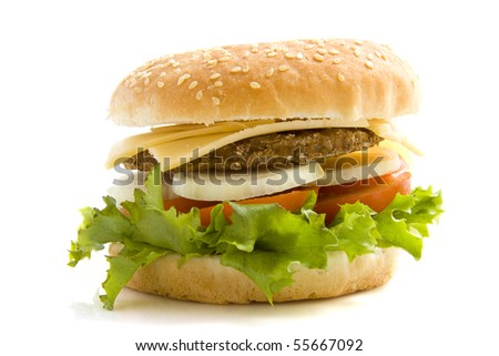 Hamburger with salad and onion isolated over white