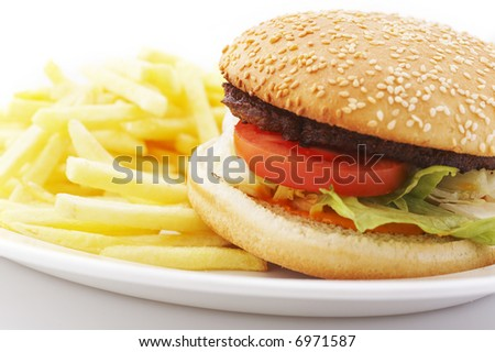 Hamburger with tomato and lettuce with french fries