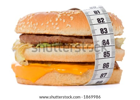 Hamburger wrapped around a measurement tape against white background
