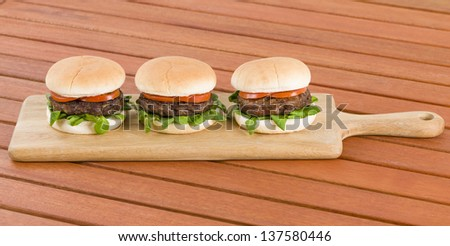Hamburgers - Burgers in white buns with summer leaf and tomato. Rustic outdoors setting.