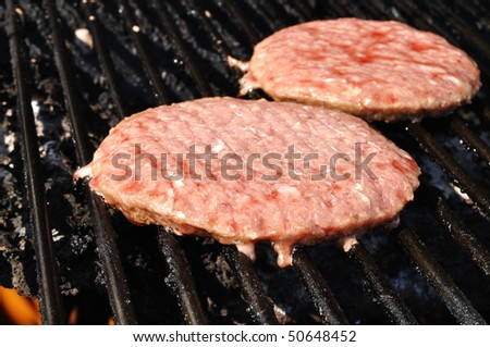Hamburgers cooking on the grill, copy space