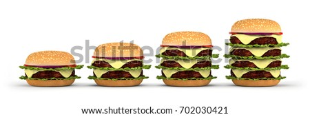 Hamburgers of four different size isolated. From simple hamburger to double, triple and quadruple cheeseburger. 3d render.
