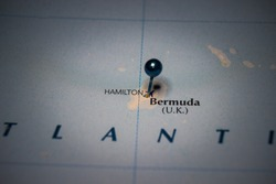 Hamilto, the capital city of Bermuda pinned on geographical map