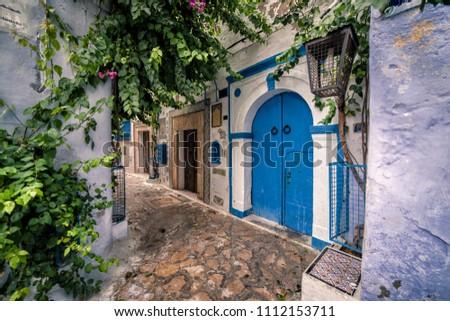 Hammamet Medina streets with blue walls. Tunis, north Africa. #1112153711