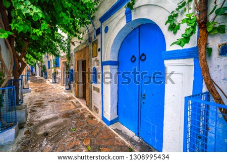 Hammamet Medina streets with blue walls. Tunis, north Africa.