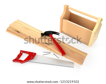 Hammer, hacksaw, toolbox, wooden planks and nails on white background, isolated. 3D rendering
