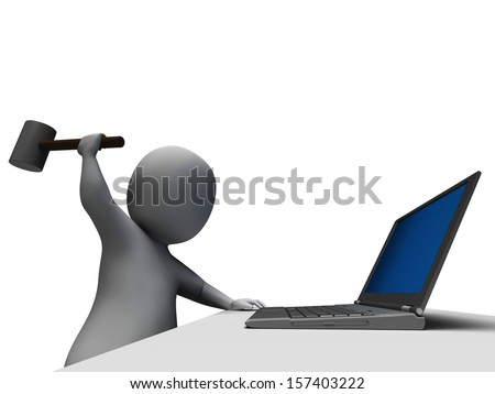 Hammer Hitting Computer Showing Angry And Frustrated With Laptop