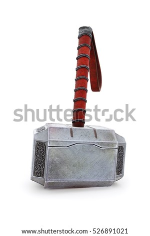 Hammer of Thor standing on the ground Mjolnir 3d Illustration 3d render isolated