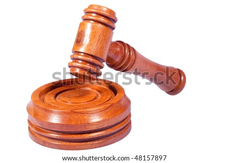 Hammer Striking Gavel on Isolated White Background