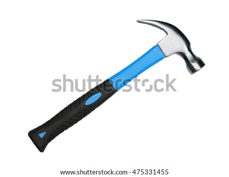Hammer with blue and black handle isolated on white