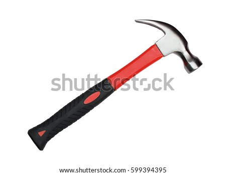 Hammer with red and black handle isolated on white background