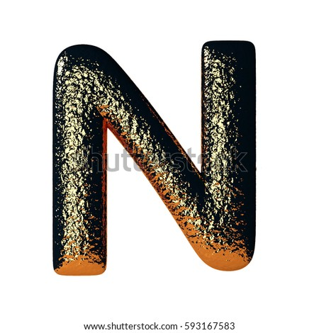 Hammered Steel Letter N with glimpses of gold. Heavy industrial font. 3d rendering isolated on white Stock fotó ©