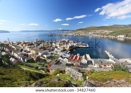 Hammerfest town in the north of Norway #34827460