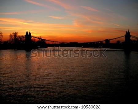 Hammersmith Bridge at Sunset - stock photo