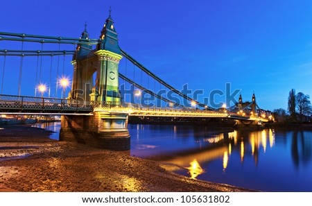 Hammersmith Bridge London at dusk