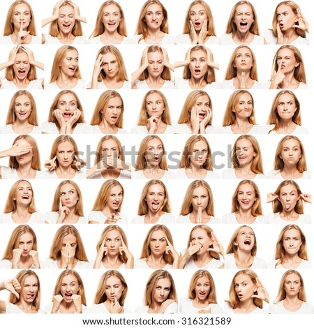 Hamming woman. Female different emotions. collage