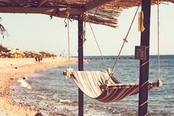 Hammock by the sea in Dahab, Egypt