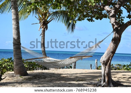 Hammock hanging on the beach at Green Cay on the island of St Croix
