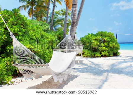 Hammock on the Maldivian beach