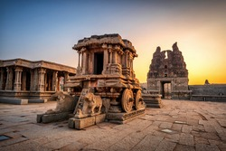 Hampi, Karnataka, India - January 10, 2020: Vijaya Vitthala Temple. Beautifully carved out of a monolith rock, a piece of intricate architectural marvel that the ancients built.