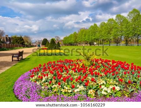 Hampton Court Garden in spring, London, UK