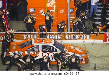 HAMPTON, GA - SEP 05:  Joey Logano brings his Home Depot Toyota in for service during the Emory Healthcare 500 race at the Atlanta Motor Speedway in Hampton, GA on Sep 05, 2010.