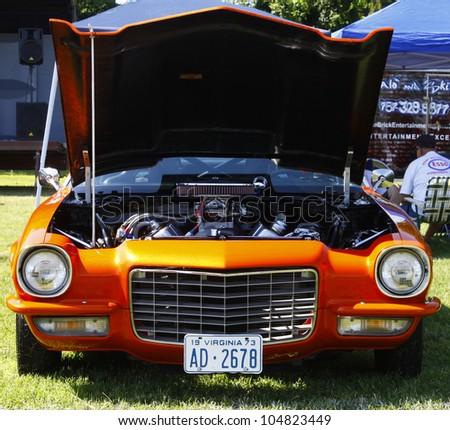 HAMPTON, VA-JUNE 9:A 1973 Chevy Camaro at the 3rd annual HCS car show at the Hampton Christian School in Hampton Virginia, 2012 in Hampton Virginia on June 9, 2012.