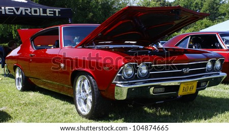 HAMPTON, VA-JUNE 9:A 1969 Chevy Chevelle SS 502 at the 3rd annual HCS car show at the Hampton Christian School in Hampton Virginia, 2012 in Hampton Virginia on June 9, 2012.