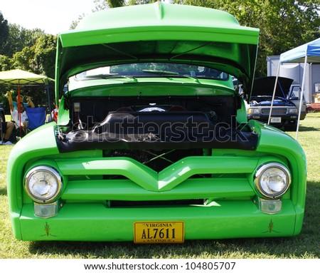 HAMPTON, VA-JUNE 9:A Green truck at the 3rd annual HCS car show at the Hampton Christian School in Hampton Virginia, 2012 in Hampton Virginia on June 9, 2012.