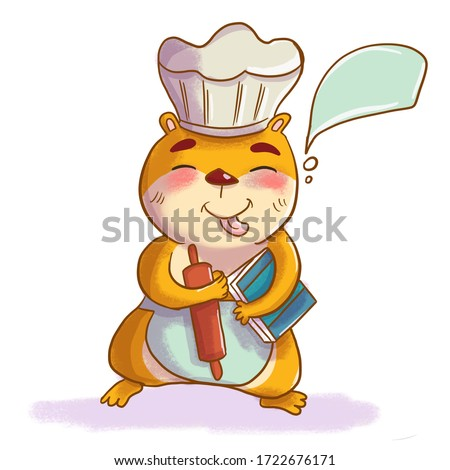 hamster chef with a rolling pin in the hat of the chef