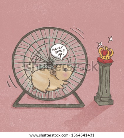Hamster, pet mouse running wheel. Chasing crown, throne, reward, persistence, perseverance, never give up concept illustration.