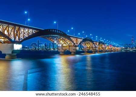 Han river with Seongsan bridge at night in Seoul, Korea #246548455