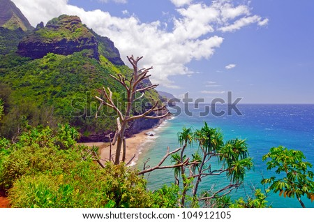 Hanakapi'ai beach on the Kalalau trail in Hawaii