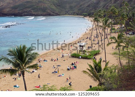 Hanauma Bay on the island of Oahu; this spot is very popular for snorkeling.