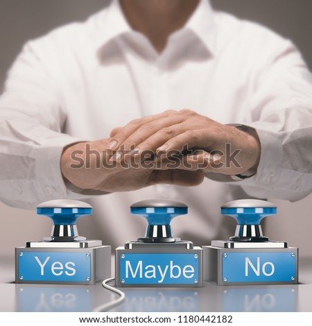 Hand about to press buzzers where it is written yes, no and maybe. Quick decision making and indecision concept. Composite image between a photography and a 3D render. Stockfoto ©