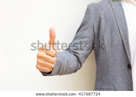 hand action icon symbol on business suit means business actions or activities use for empower, encourage, work, win, good job, great, fight, victory business, or present work, business, products