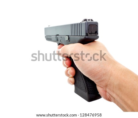 hand aiming a handgun on white background