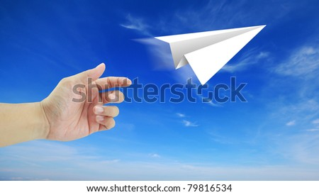 hand aircraft paper to success blue sky cloud cloudy holiday travel