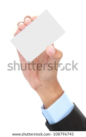 Hand and a blank card isolated on white background