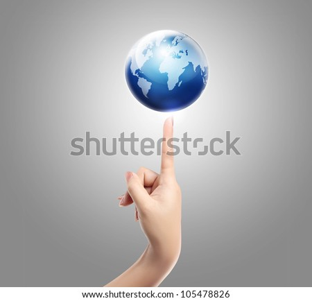 Hand and balance earth isolated on white background