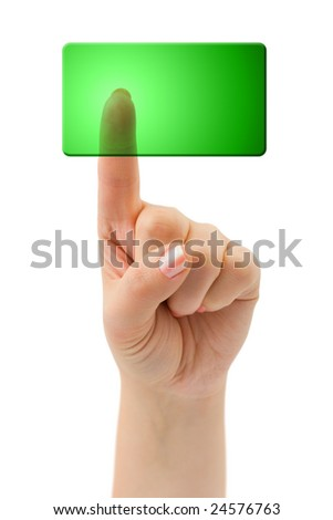 Hand and blank button isolated on white background