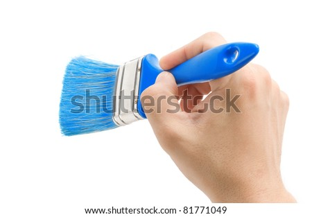 hand and brush isolated on white background