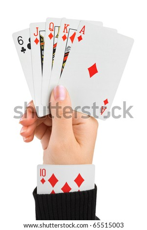 Hand and card in sleeve isolated on white background