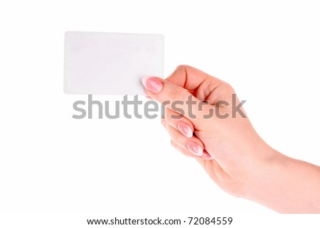 Hand and card isolated on white