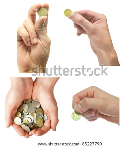 Hand and coins, isolated on white. collection.