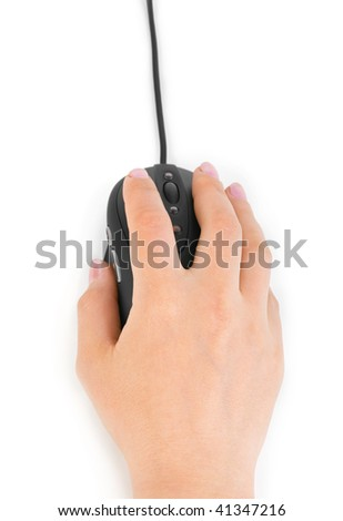 Hand and computer mouse isolated on white background