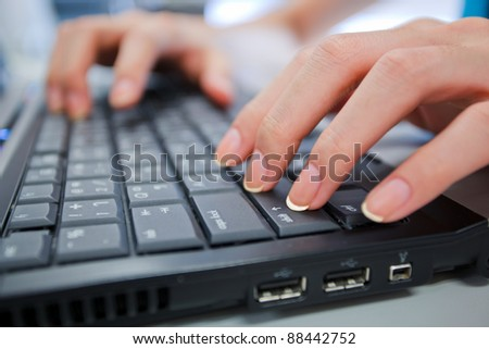 hand and computer shift key as working stlye