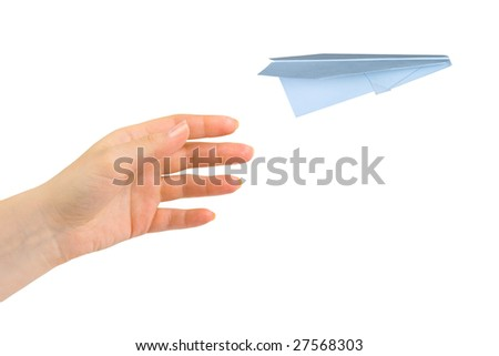 Hand and flying money plane isolated on white background